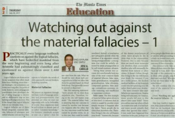 Watching Out Against The Material Fallacies 1