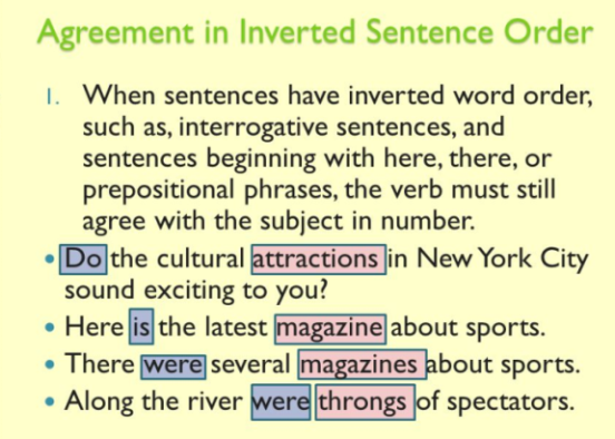 A Subject Verb Agreement Peculiarity Of Inverted Sentences