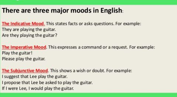 The Moods And Attitude Of English Verbs