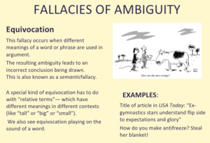 Fallacy Of Ambiguity. The Use Of Undefined Words Or Words With A Vague  Meaning Constitutes A Fallacy Of Ambiguity. In Retrospect, Letu0027s Take A  Look At This ...